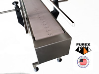 "Furex Stainless Steel 4' x 7.5"" Inline Conveyor with Plastic Table Top Belt"