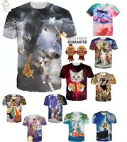 Cats Lightning Tornado Pizza Surfing New Funny T-Shirt Men Women 3D Print S-7XL