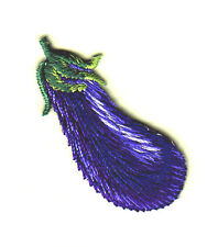 EGGPLANT w/GREEN TOP Iron On Embroidered Applique Patch/Food, Vegetable