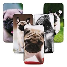 Adorable Pug Puppies Flip Phone Case Cover Wallet - Fits Iphone 5 6 7 8 X 11