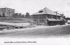 c1910 Amelia Flats and Union Station Railroad Depot, Akron, Ohio Postcard