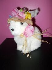 NWT Soft Furry Plush Easter Bunny Hat Flowers Table Top Spring Home Decor