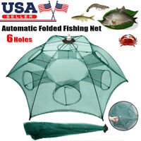 Fishing Bait Trap Crab Net Crawdad Shrimp Cast Dip Cage Fish Minnow Foldable USA