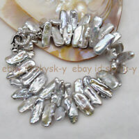 Natural Shape 8x23mm Genuine Silver Freshwater Biwa Pearl Jewelry Necklace 18''