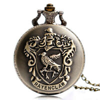 Classic Ravenclaw Quartz Pocket Watch with Necklace Chain For Men Women Gift