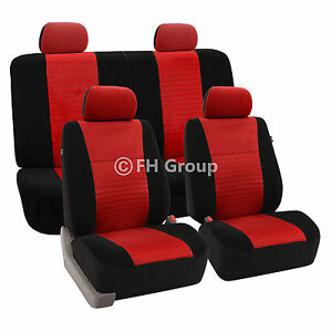 3D Airmesh Design 2 Row Red Black Auto Car Seat Covers Air Bag Safe Split Bench