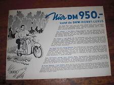 Prospekt Sales Brochure DKW Hobby-Luxus Scooter Motorroller Roller   автомобиль