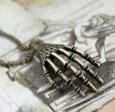 Ladies New Vintage Punk Gothic Skull Hand Pendant Long Chain Necklace Jewelry ŋŋ