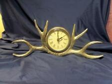 Deer Antler Silver Clock Mantle Table Desk Solid Clock Battery Operated 15x6 B9