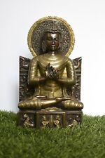 11 Inches Bronze Finish Buddha Statue Handmade Carved Home Decor Religious Idol