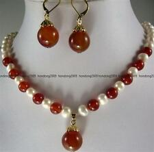 7-8MM White Natural cultured  Fresh Pearl &Red Ruby Necklace Earring 18''