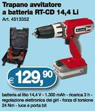 TRAPANO AVVITATORE KIT 2 BATTERIA LITIO VALIGETTA LED Einhell RT-CD 14,4/2 Li