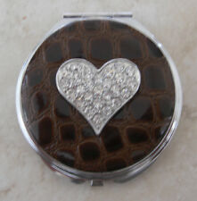 Brown Faux Croc Rhinestone Heart Compact Mirror Christmas Holiday Gift New!