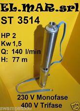 """ELETTROPOMPA SOMMERSA ST3514 4"""" 2 HP 1,5 kw POMPA INOX POZZO ARTESIANO Prev.77m"""