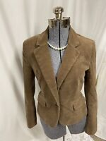 Ann Taylor Loft Jacket Brown Velvet Blazer Notched Shawl Collar Size 4