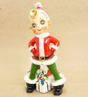 "Vintage Josef Originals Christmas Pixie Elf Figure / Figurine Japan 6.5"""