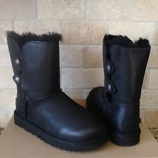 UGG Classic Short Marciela Button Black Leather Sheepskin Boots Size US 7 Womens