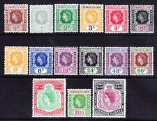 LEEWARD IS 1954 QEII SG126a/140 set of 15 1/2c has loop flaw u/m cat £60 + £5