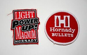 Set of 2 Vintage Hornady Ammo Bullet Gun Target Shooting Patch New NOS 1980s