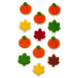 Fall Pumpkin and Leaf Mini Icing Decorations 24ct from Wilton 1853 NEW