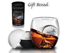 On The Rock Spirit Whiskey Glass & Ice Cube Ball Drinks Gift Set Idea GIFT BOXED