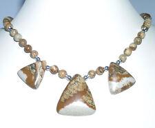 Kette aus schönem LANDSCHAFTSJASPIS auf Seide Triangles 925 Silber 48,5cm