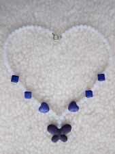 White Jade & Purple Turquoise Handmade Necklace with Butterfly.