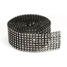 8-row Darice BLING ON A ROLL - BLACK Mesh & SILVER Ribbon Tape 1.37 In x 2 Yards