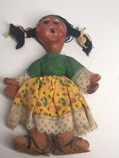 Primitive Folk Art Girl Doll In A Dress- Handmade