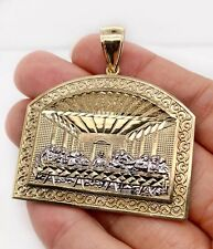 "Mens 10K Two Tone Gold Last Supper Jesus Religious Pendant 15.3 Gr 2.12"" Large"