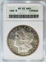 1885 Silver Morgan Dollar ANACS MS 63 DPL Deep Mirrors Proof Like PL DMPL UDM