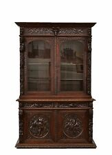 2202028 : Antique French Carved Renaissance Hunt Style Bookcase Cabinet