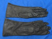 GLOVES BY SUPERB Vintage BLACK LEATHER GLOVES Nylon Lined CLASSIC STYLE sz 6.5