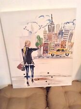 Cityscape Oil Canvas Painting Signed
