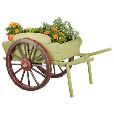 Cottage Outdoor Garden Decor - Large Wood Wheel Barrow Plant Holder Planter