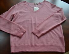 NW JOIE  Womens Pink Cashmere Ribbed Trim V Neck Pullover Sweater S/M