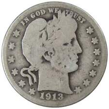 1913 D 25c Barber Silver Quarter US Coin Average Circulated