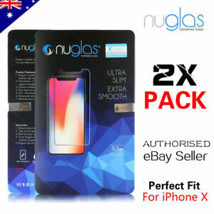 2X GENUINE NUGLAS Tempered Glass Screen Protector For Apple iPhone X
