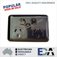 Black Gloss Double Power Point GPO + Extra Switch Outlet Wafer Slim Upmarket
