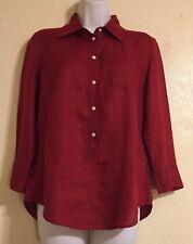 J. Crew Womens 3/4 Button Front Red Linen Blouse Sz 6