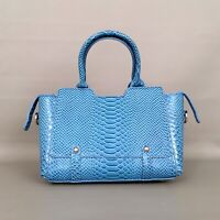 HYNES VICTORY Women's Classy Satchel Handbag-Blue Faux Croc Leather NWT Lovely!