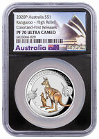 2020 P Australia $1 1 oz Silver Kangaroo Colorized High Relief NGC PF70 UC FR