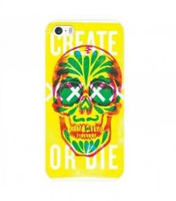 Coque Iphone 7 PLUS Iphone 8 PLUS tete de mort 13 create or die jaune vert fluo