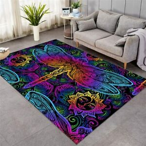 Dragonfly Floral Insect Sun Large Rectangle Rug Carpet Mat Living Room Bedroom