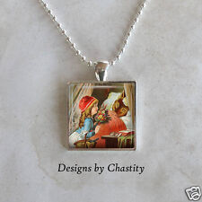 Little Red Riding Hood Necklace - Big Bad Wolf Glass Altered Art Charm Pendant