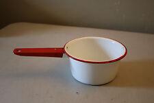 Red and White Enamel Ware Saucepan Vintage Kitchen Decor