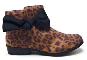 MIA Shoes Big Girls Sami Pull On Ankle Boots Cheetah Nova Size 5 M US
