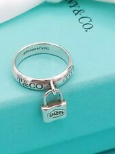 Tiffany & Co Sterling Silver 1837 Lock Charm Ring UK Size H , US 4 , EU 46.5