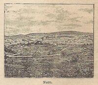 A0231 Noto - Veduta - Stampa Antica del 1907 - Xilografia
