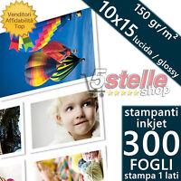 300 FOGLI CARTA FOTOGRAFICA A6 FOTO 10X15 GLOSSY LUCIDA 150 GR STAMPANTI INKJET